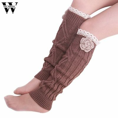 Amazing Fashion Winter Warm Women Crochet Knitted Lace Trim Leg Warmer Boot Sock