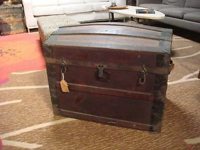 Antique Victorian Unfinished Dome Top Steamer Trunk Chest