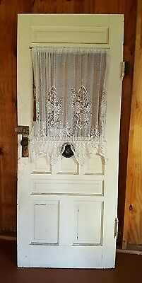 "Beautiful Antique Vintage Solid Wood Door w/ Window & Doorbell 78 3/4""Tx31 3/4""W"