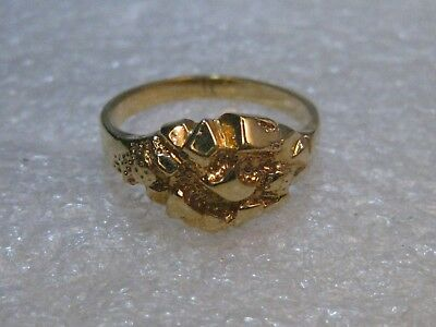 Vintage Gold Tone Nugget Ring, size 10,  Unisex, 10.5mm wide, tapered