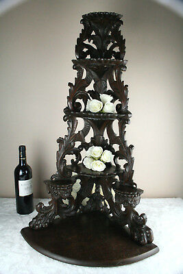 HUGE XXL black forest wood carved lion paws corner wall console 4 floors 1900