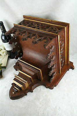 Stunning french NEO gothic Wood carved wall console shelf boulle clock/ saint