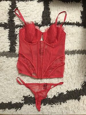New Victoria's Secret Red Lace And Mesh Corset Bustier Size 36C Bright Cherry