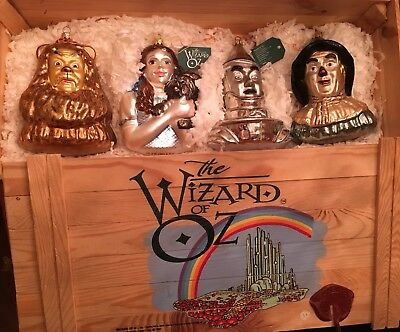 WIZARD OF OZ GLASS ORNAMENT COLLECTION-POLONAISE ADLER-MINT COND in Wooden Box