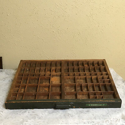 Antique Vintage Hamilton Wooden Printer's Typeset Drawer Wall Shelf Shadow Box