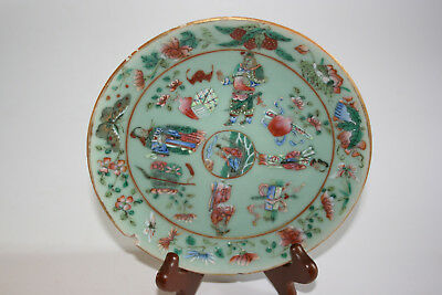 Antique Chinese Porcelain Painted Character Figure Light Green Plate - Marks