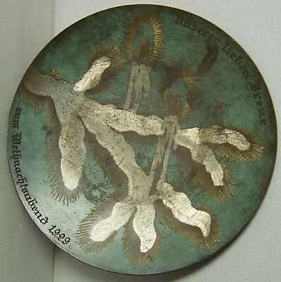 green enamelled WMF Ikora Art Deco Bauhaus plate bowl christmas twig 1929