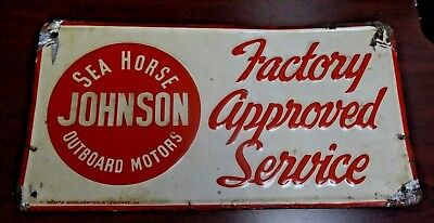 Antique Vintage JOHNSON Sea Horse Outboard Motors Factory Approved Service Tin