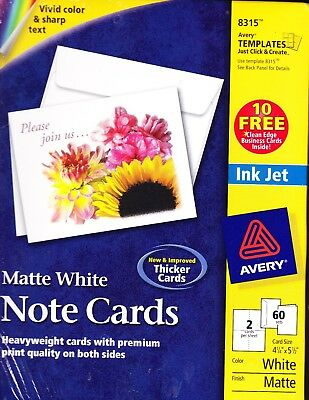 Avery Matte White Note Cards 8315 Ink Jet Qty 60 Cards w/ Envelopes