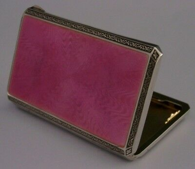 Beautiful Solid Sterling Silver And Pink Guilloche Enamel Cigarette Case 1926