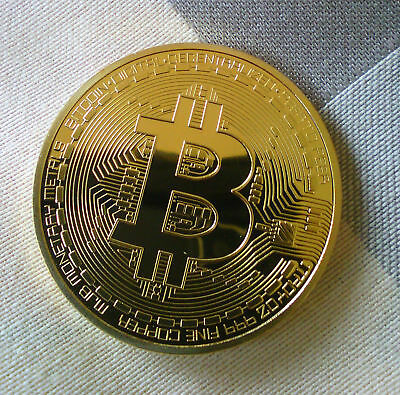 Gold plated BITCOIN coin - in acrylic case - Worldwide FAST shipping