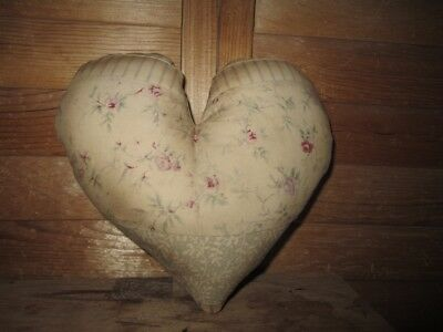 Primitive   quilted Heart Pillow - pink flowers - 16