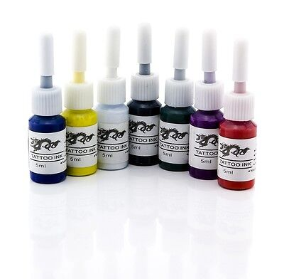 7in1 Tattoofarbe Tattoo Farbe Ink Set Tätowierfarbe Tinte schwarz weiß rot blau