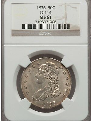 1836 NGC MS61 Capped Bust Half Dollar *Free Shipping*