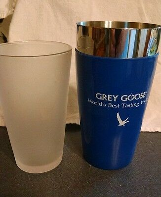 New Grey Goose Vodka Stainless Steel Shaker & Etched Goose Pint Glass