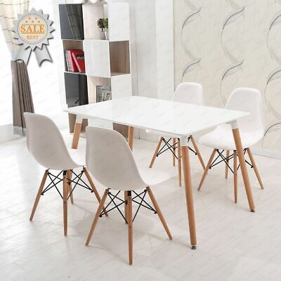 White Wood Dining Table And 4 Chairs Kitchen