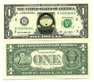 SOUTH PARK / CARTMAN - VRAI BILLET 1 DOLLAR US ! Collection Série Animation eric