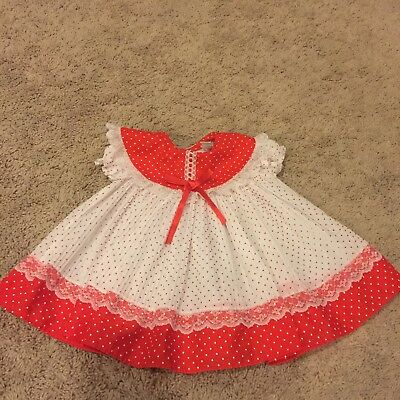 Vintage Sheer Girls Toddler Ruffle Lace Dress Roanna Togs Size 9 Mo