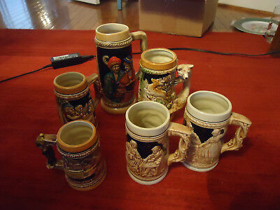Group of 6 Ceramic Beer Steins, KMP,l Great Condition