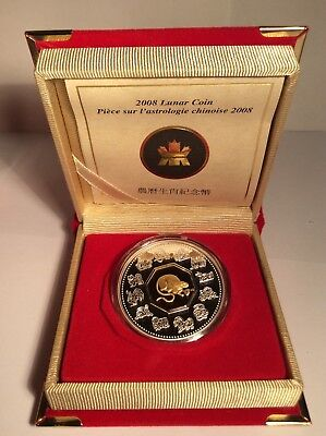 Canada 2008 $15 Dollar Silver Lunar Coin Year of the Rat Gold Cameo