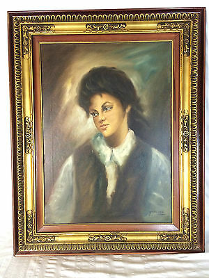 Vintage Portrait Man Boy Painting Oil On Canvas Signed Joselito