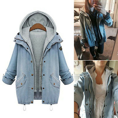 IK- Women Casual Denim Jacket Hooded Vest Oversized Coat Outwear 2pcs Set Goodis