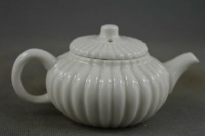 Chinese Collectable Handwork White Porcelain Carve Pumpkin Shape Lucky Tea Pot