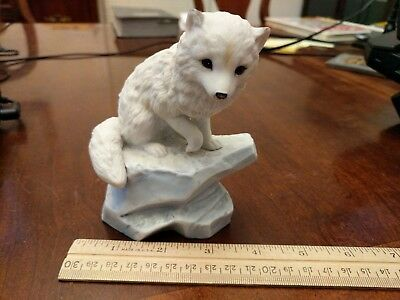 1990 Polar Expedition Collection Arctic Fox Porcelain Figurine Red White Cute
