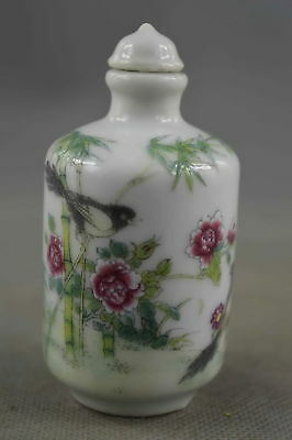 Collectable Handwork Porcelain Paint Lifelike Flower Bird Royal Snuff Bottle