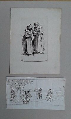 Two Old Master Etchings Engravings Beggars aft. Callot c1660s?
