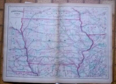 1874 antique map Hand colored IOWA Asher & Adams  double page