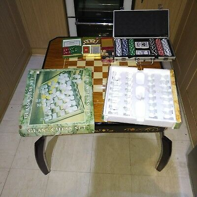 vintage italian inlaid gaming table with accesories