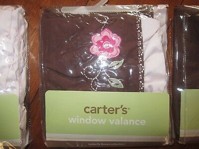 "Carter's Window Valance Brown & Pink Butterfly Flowers 14"" x 60""Baby Nursery EUC"