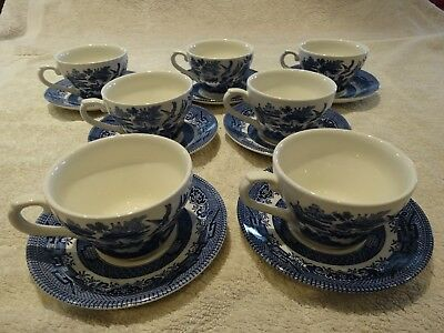 CHURCHILL BLUE WILLOW CUP AND SAUCERS x 7