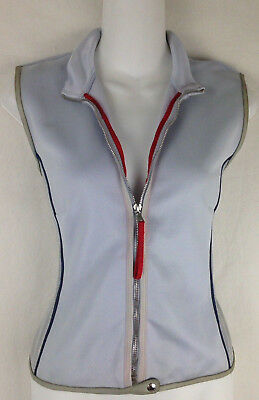 vtg Prada Vest S Small Gray Blue Leather Chic Zip Front Sleeveless Vintage Top