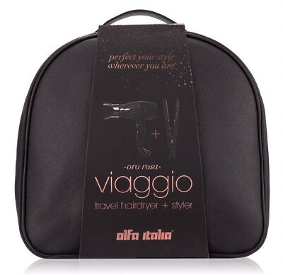 Alfa Italia Viaggio Rose Gold Luxury Travel Hairdryer & Styler Valentines Set