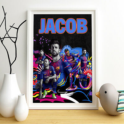 FC BARCELONA Personalised Poster A4 Print Wall Art Custom Name ✔ Fast Delivery ✔
