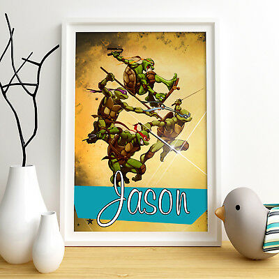 NINJA TURTLES Personalised Poster A4 Print Wall Art Custom Name✔ Fast Delivery✔