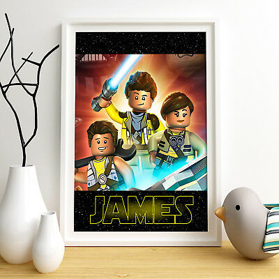STAR WARS LEGO Personalised Poster A4 Print Wall Art Custom Name✔ Fast Delivery✔