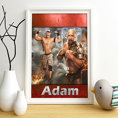 WRESTLING Cena Rock Personalised Poster A4 Print Wall Art Fast Delivery ✔