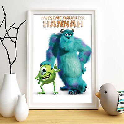 Monsters Inc Personalised Poster A4 Print Wall Art Custom Name ✔ Fast Delivery ✔