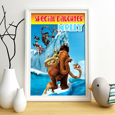 ICE AGE Personalised Poster A4 Print Wall Art Custom Name ✔ Fast Delivery ✔