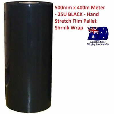 Brand New 500mm x 400m 25um Black Clear Shrink Wrap Hand Pallet Film