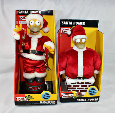 2 Homer Simpson Santa's ~ Animated, Singing & Talking Both in Original Boxes