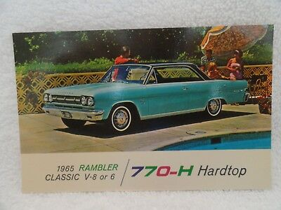 1965 Rambler Classic 2D HT New Car Dealer Promotional Postcard