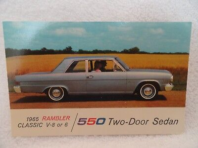 1965 Rambler Classic 550 2Dr New Car Dealer Promotional Postcard