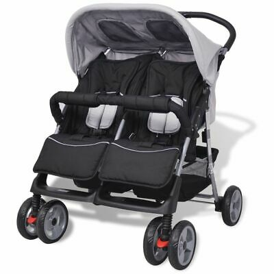 vidaXL Baby Twin Stroller Steel Grey and Black Travel Pram Pushchair Buggy