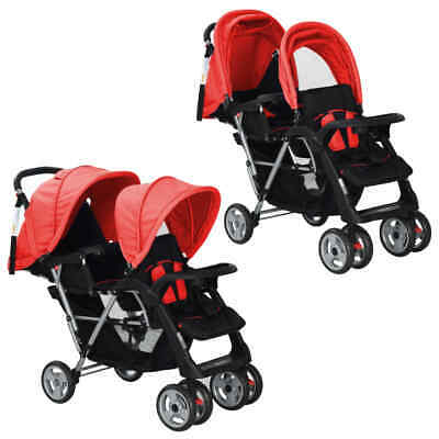 vidaXL Tandem Stroller Steel Red and Black Baby Travel Pram Pushchair Buggy