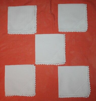 5 Vintage White Linen Napkins/serviettes With Lace Edge