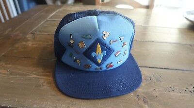 VTG Webelos Cub Boy Scouts Blue Trucker Hat and PINS